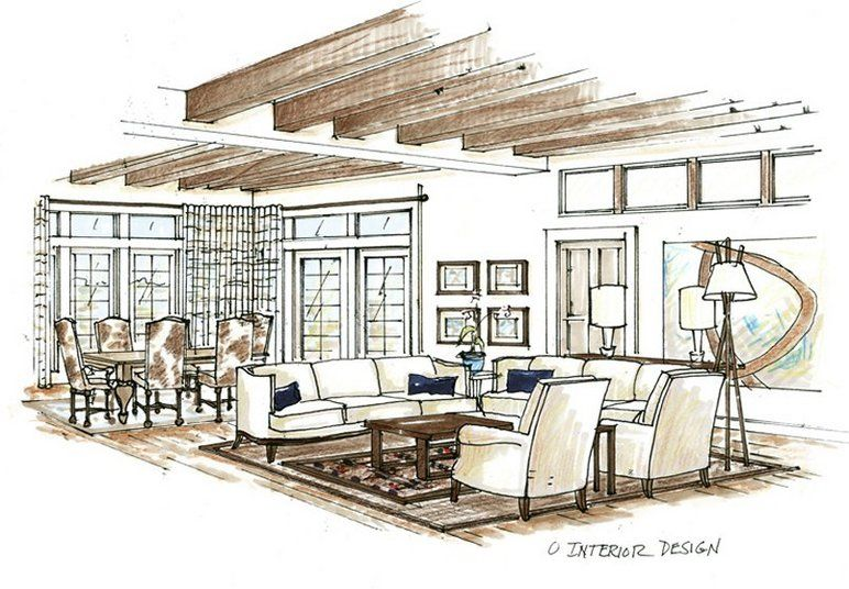 Sketch Drawing Of Livingroom