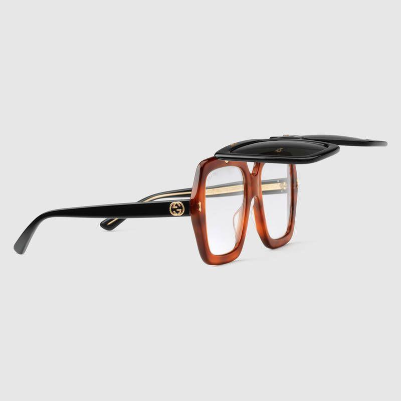 cdb2f83aa0e Gucci Oversize square-frame acetate sunglasses Flip Up Glasses