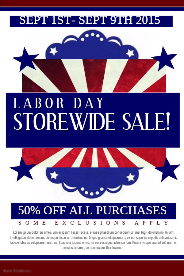 Labor Day Storewide Sale Poster Flyer Media Template Labor Day