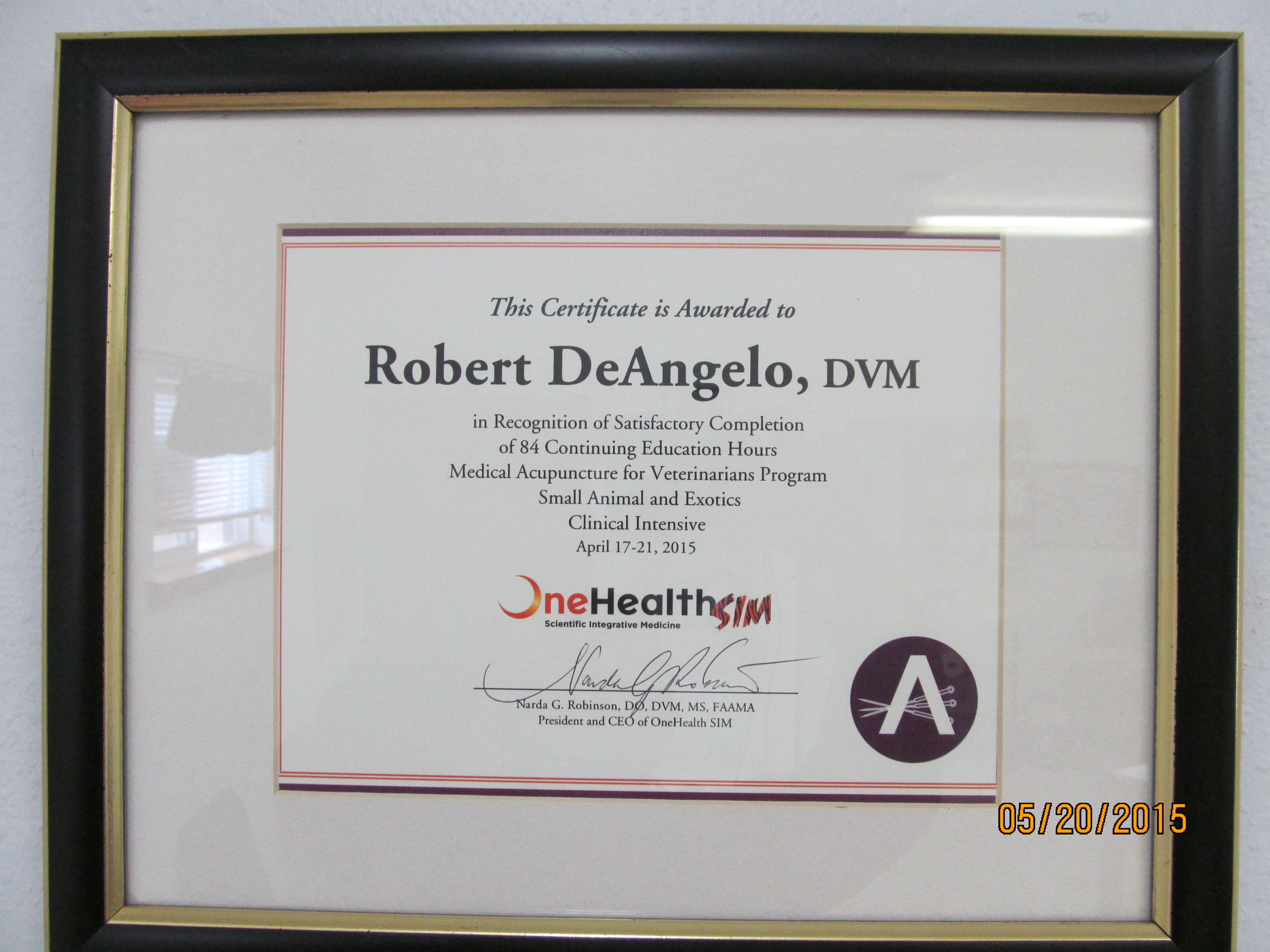 Congratulations Dr  DeAngelo! He received his certification
