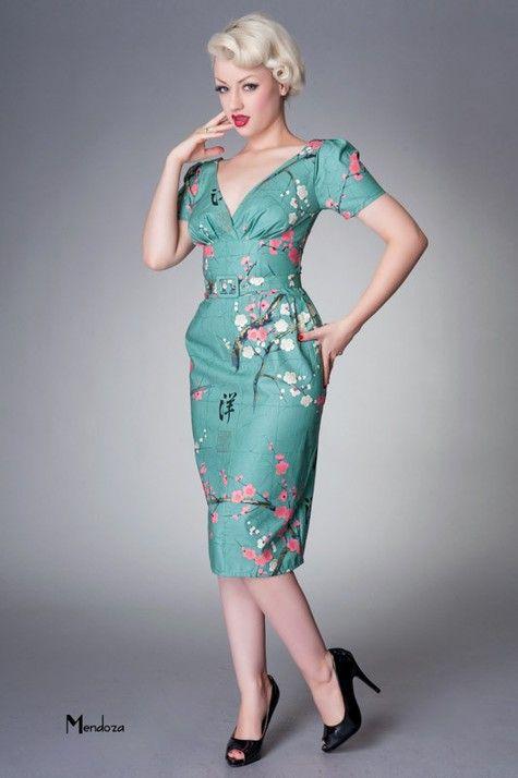 Victory Parade Sallyanne Dress Green Oriental Obleceni A Doplnky Hepkitten Retro Tea Dress Parade Dress Fashion