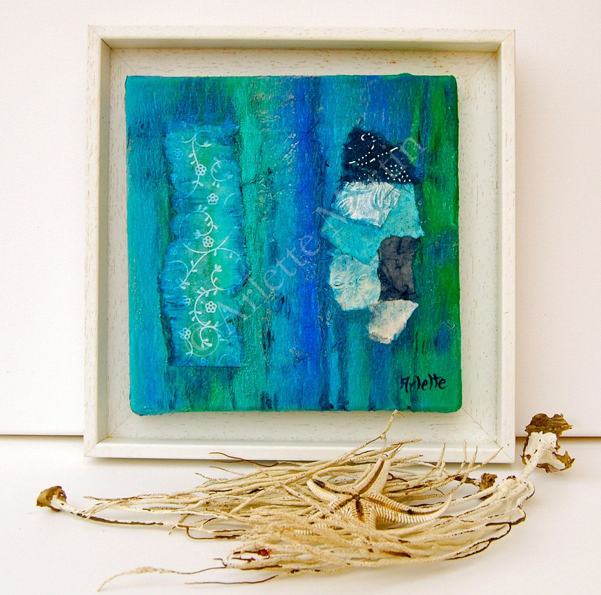 Wall art original handmade abstract painting blue wall art