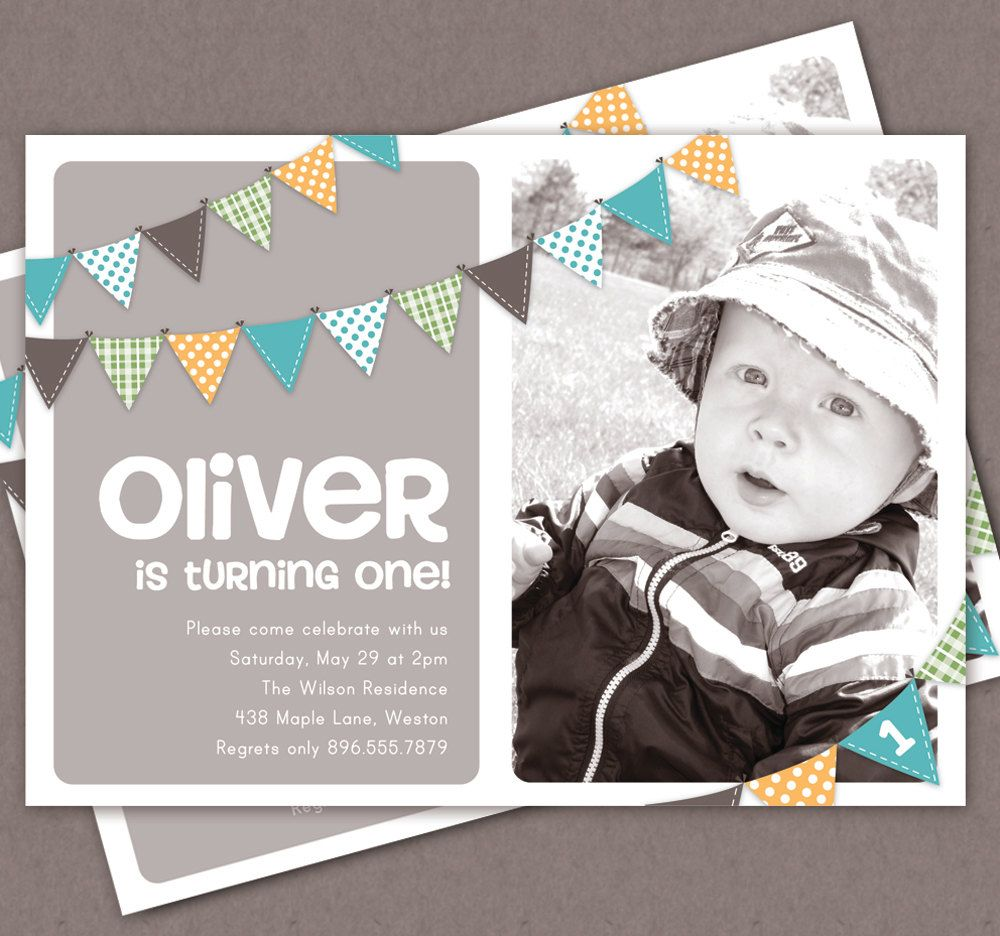 Boy First Birthday Invitation Bunting Flags Banner Photo Printable ...