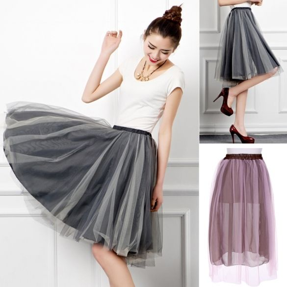 European Style New Fashion Lady Women Leisure Street Above Knee Mesh Skirt                                                                                                                                                      More