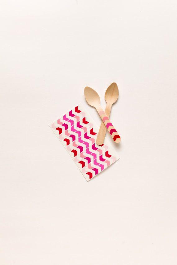 DIY KIT - 20 Ice Cream Spoons - Pink Arrow Ombre
