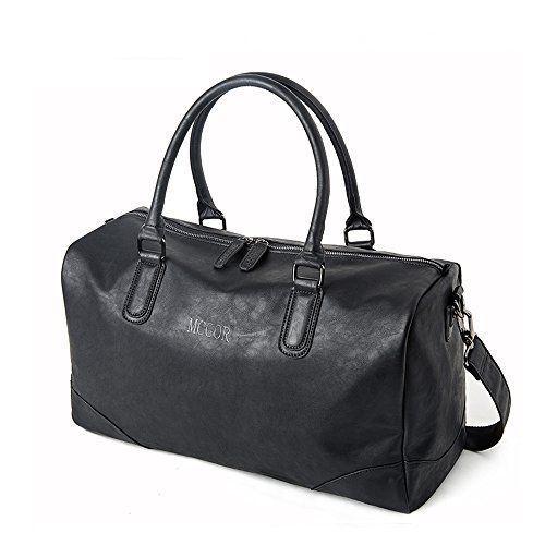 NEW Vintage PU Leather Oversized Weekender Duffel Bag Overnight Handbag  Black  Sturdybags 2dca0545f0140