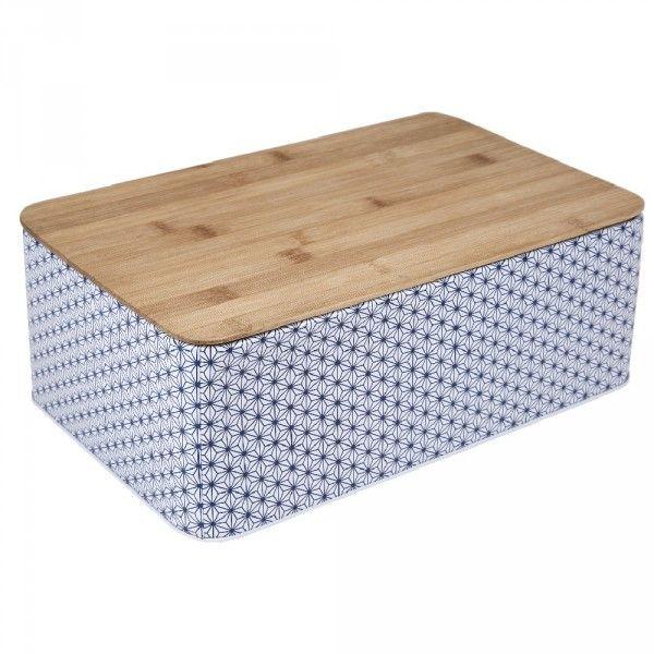 Boîte à Pain Métal Design Géométrique Et Couvercle Bambou