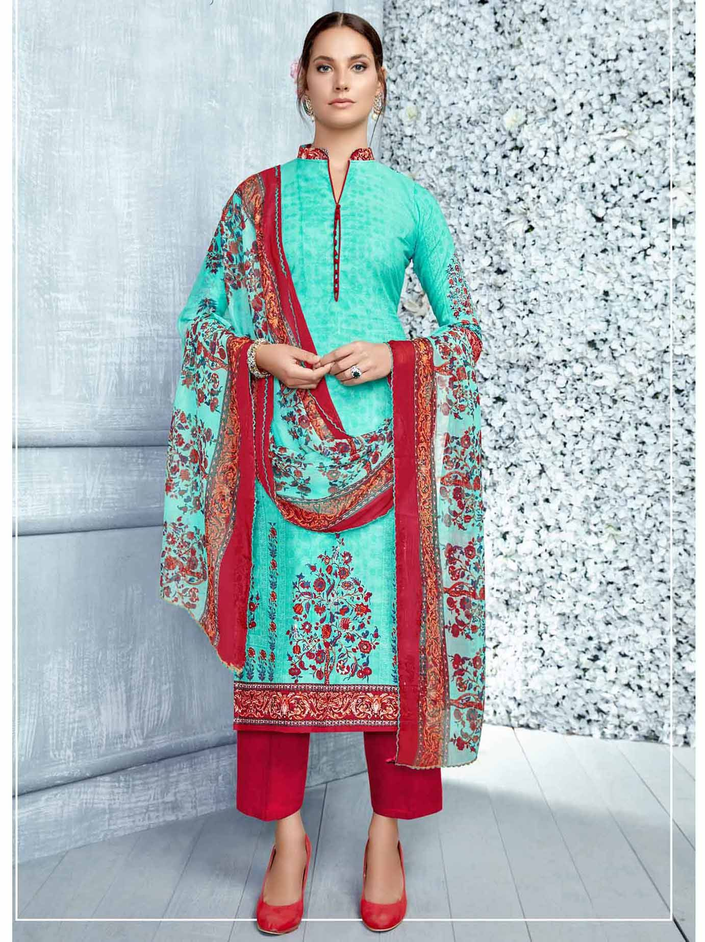 Blue cotton printed casual pakistani salwar kameez pakistani