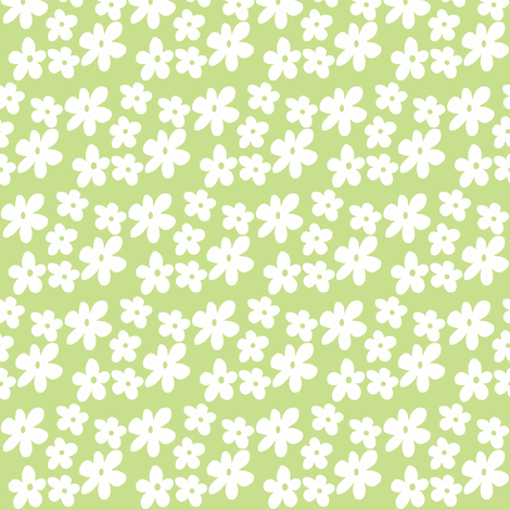 Fabric by the Yard Apple Green Daisy Flowers