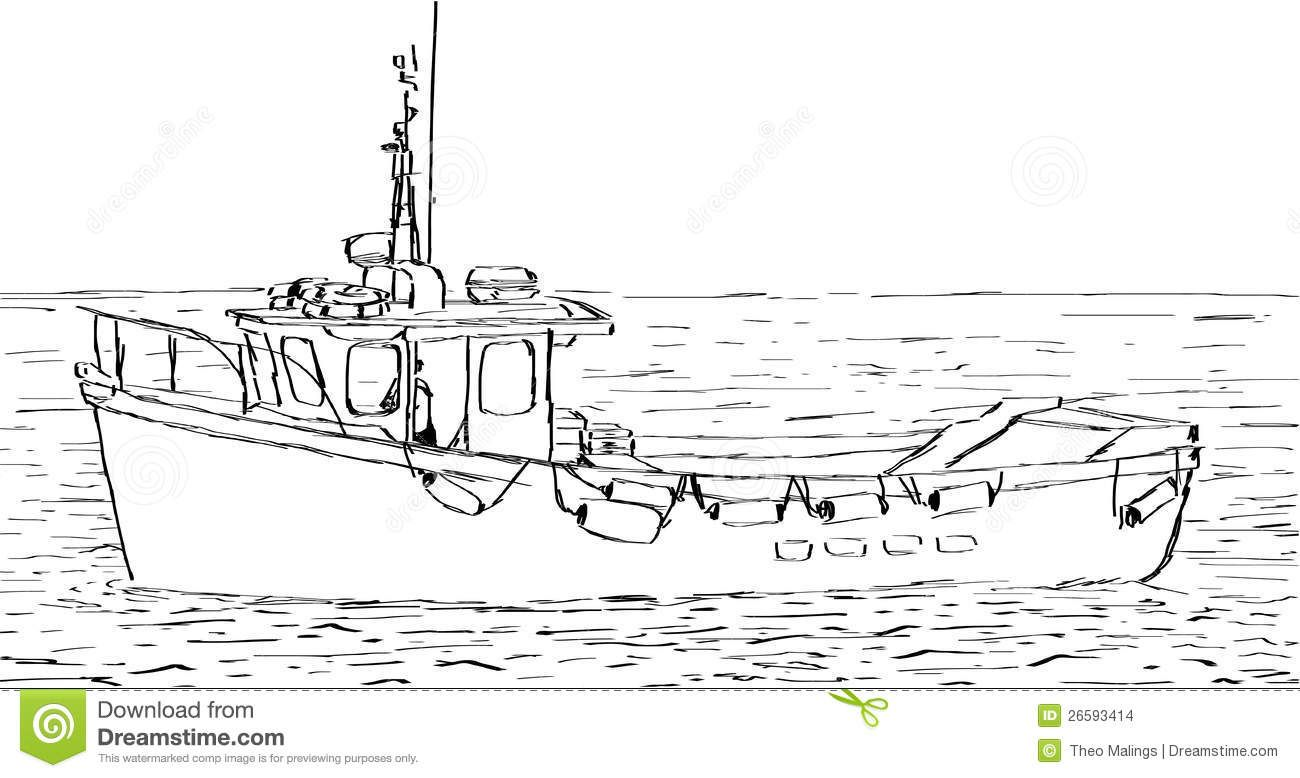fishing boat drawing croquis de bateau images stock image
