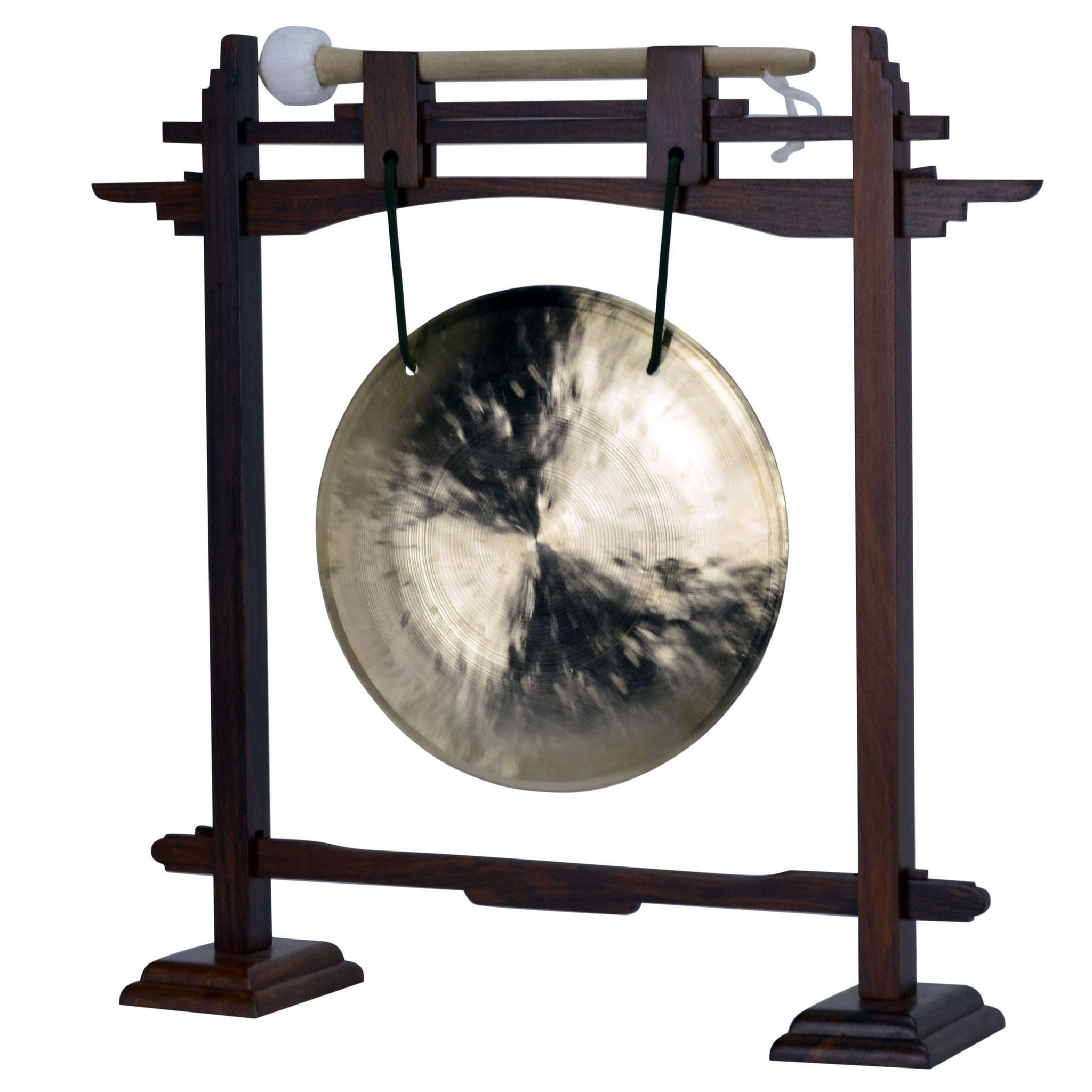 """08"""" Wind Gong with Rosewood Pedestal Gong Stand and Mallet Combo"""