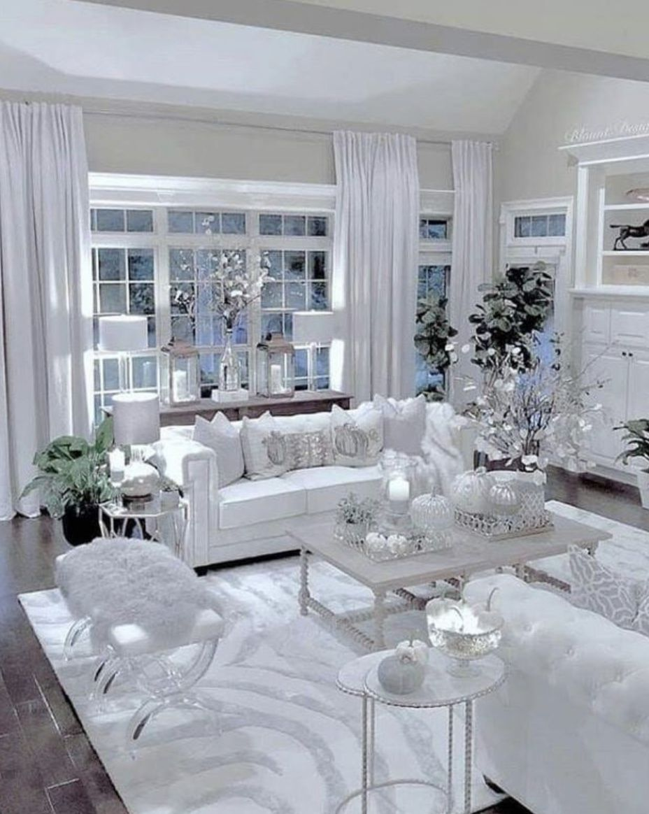 white best living room interior decoration ideas | The most beautiful white living room with whitcdofa. Gl ...