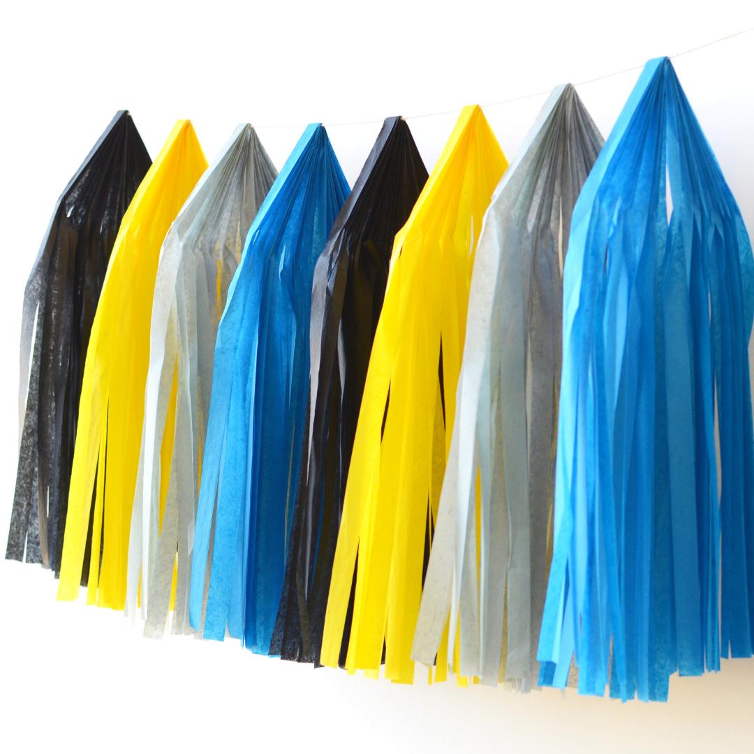 Batman Tissue Paper Tassel Garland Kit | Happy Wish Company