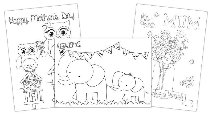 Free Mother's Day card templates you can colour-in and