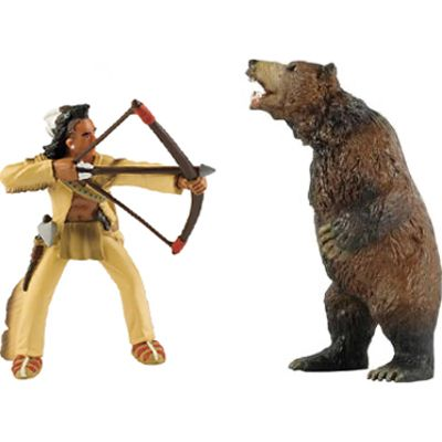 """Native-American Archer & Grizzly Bear (2-Figures)  The Native-American Archer stands on its own and measures approximately 3.9""""H (10 cm). The Grizzly Bear also stands on its own and measures 4.5""""H."""