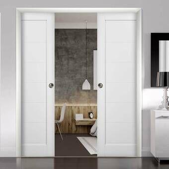 Paneled Manufactured Wood Quadro Sliding Closet Doors Sliding Closet Doors Double Pocket Door Pocket Doors