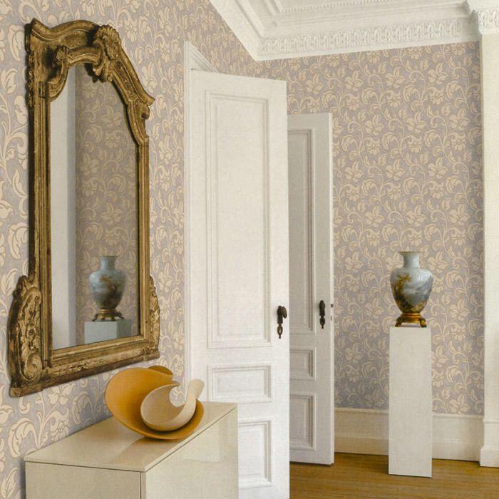 Una combinación elegante donde las haya,un papel pintado de estilo clásico con estampado floral dorado y fondo gris! https://papelvinilicoonline.com/es/87-bottega-tessile