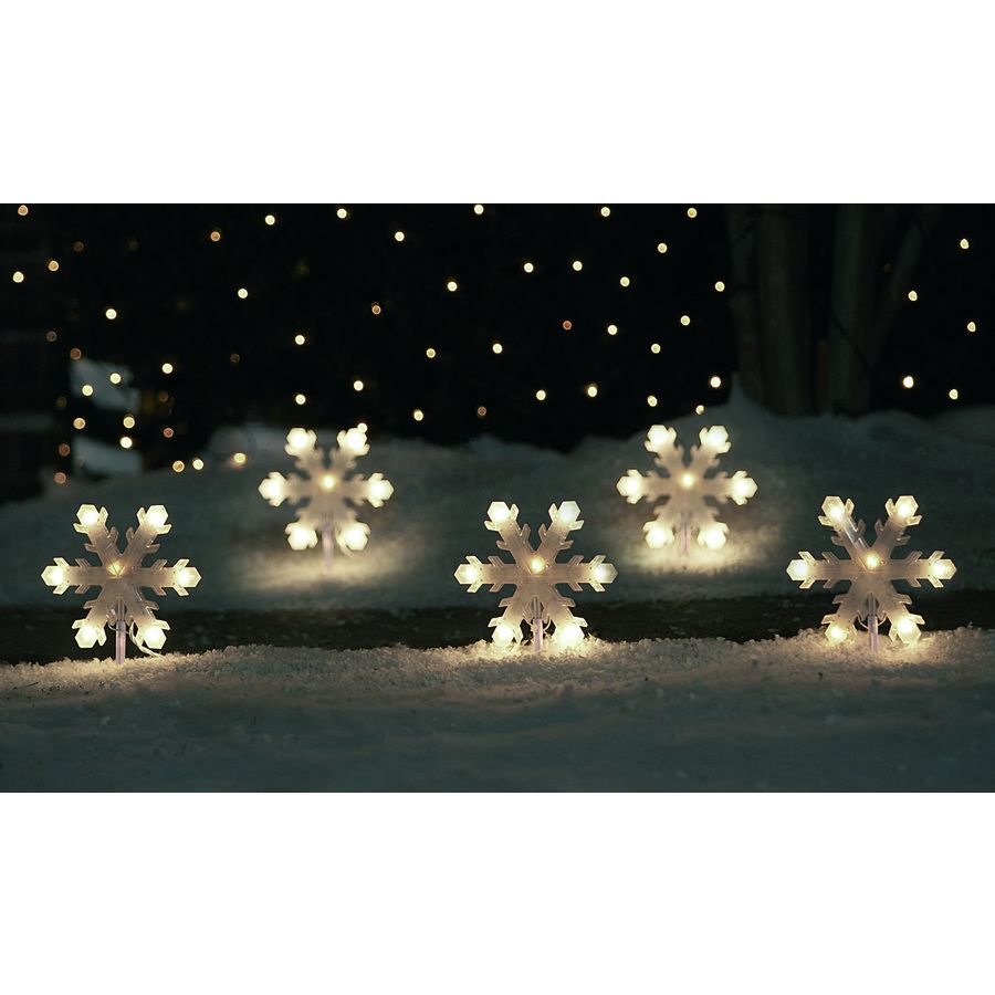 Shop Sienna 5-Count 35-Light Clear Shimmering Christmas Snowflake ...