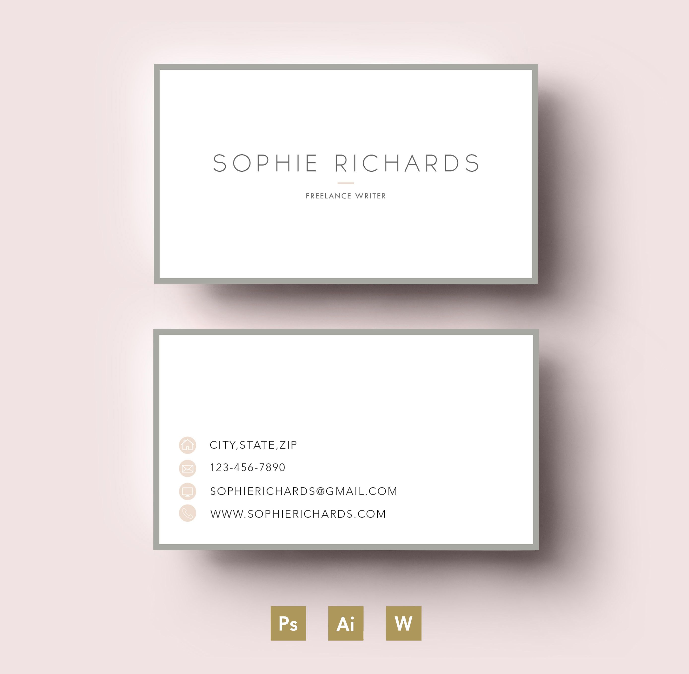 Modern two side business card templa by Emily\'s ART Boutique on ...