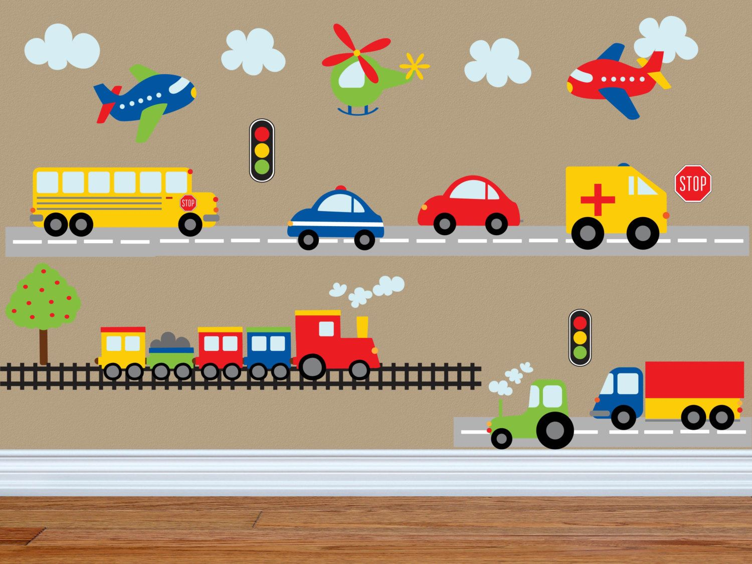 Construction transportation car wall decals kids stickers