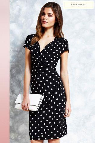 214557365818 Uttam Boutique Polka Dot Jersey Wrap Dress