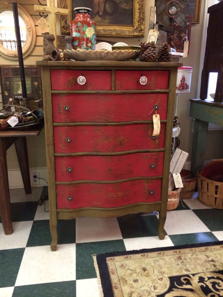 Dresser Painted With Matty Chuah Real Milk Paint Co Earth Green And Red
