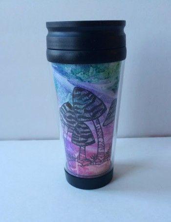 Mushroom marbled travel cup