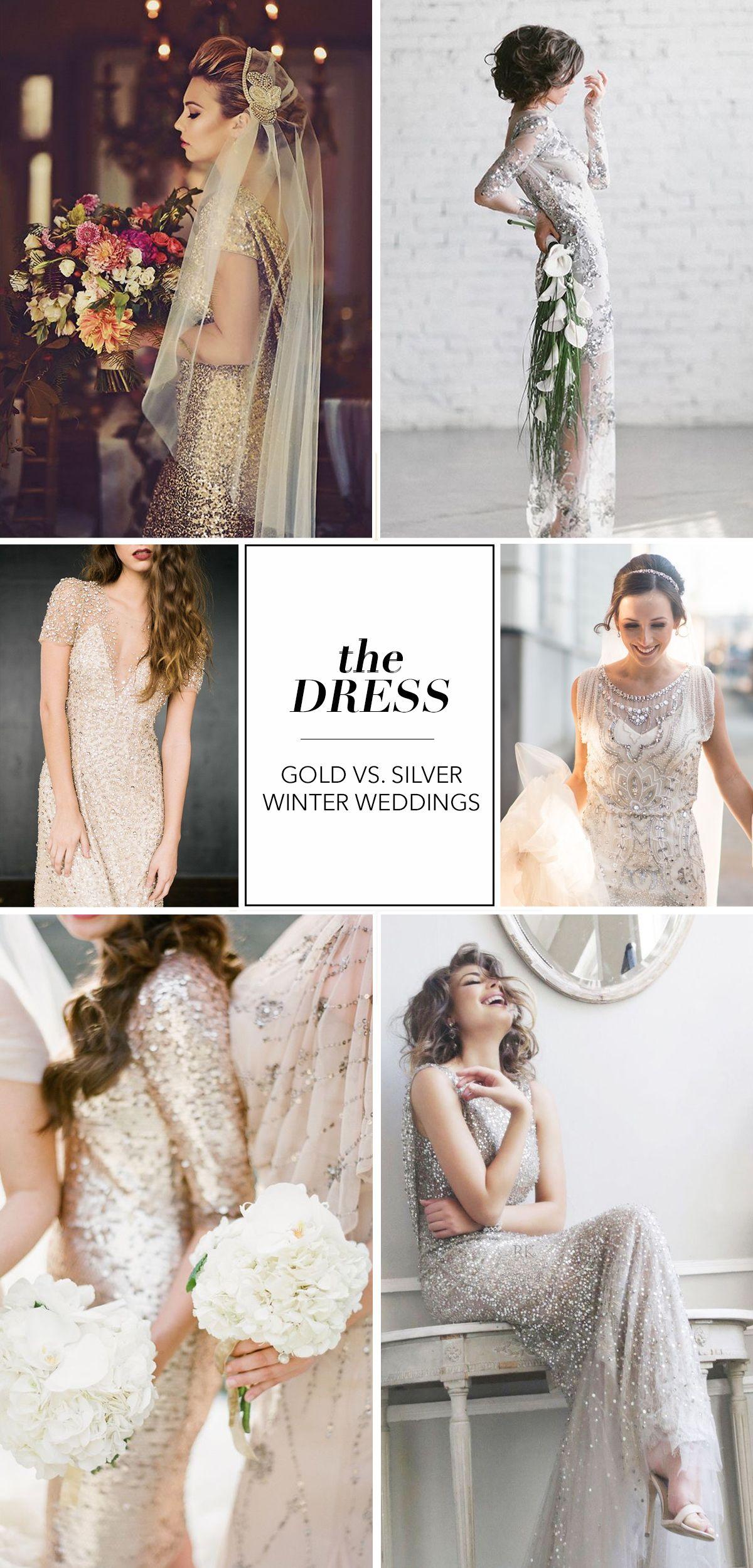 Dresses for a winter wedding reception  THE DRESS  GOLD vs SILVER Winter Wedding Inspiration  Darby u Joan