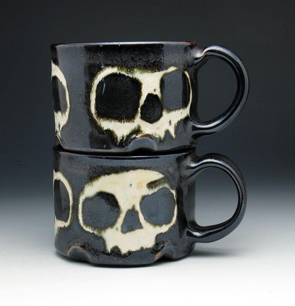 Mr And Mrs Pirate Mugs Skull Coffee Mug Set Bronze Glazed Stoneware 72 00 Usd By Nicolepangasceramics