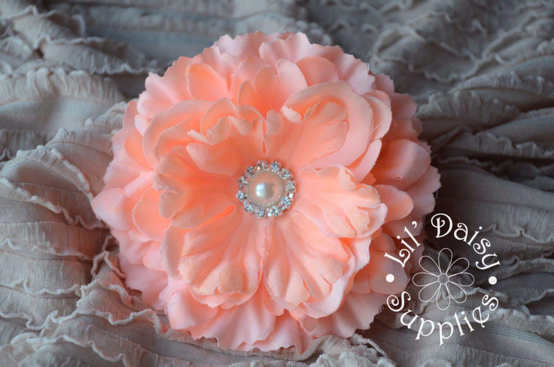 1 Peach Fabric Silk Peony Flower 425 Wholesale Flowers Wedding
