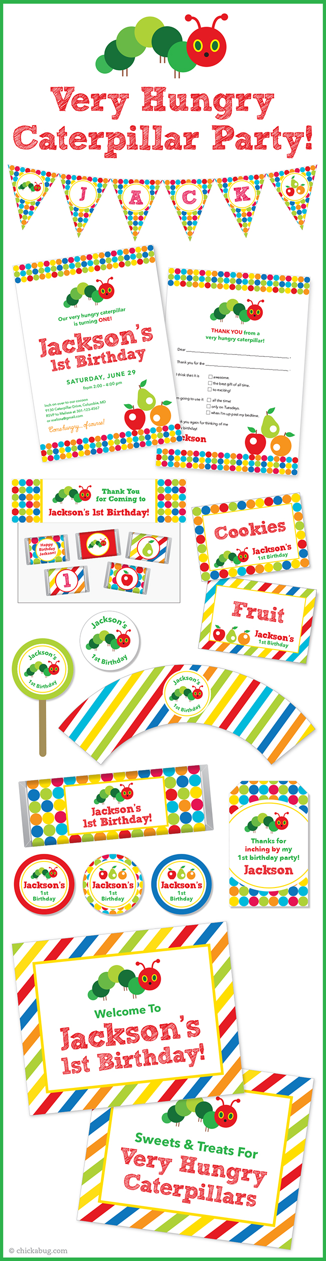 New in the shop: Very Hungry Caterpillar Party   Label stickers ...