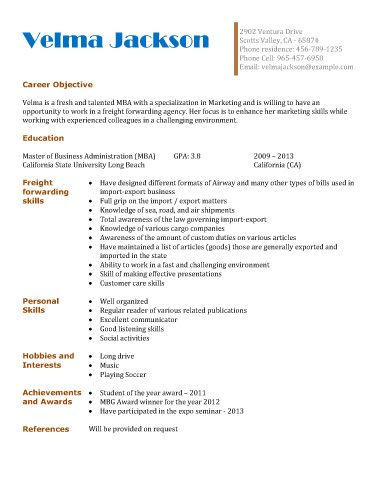 freight forwarding agency resume template