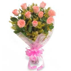 This exquisite bunch of 10 baby pink roses is the best bouquet to send your warmest wishes to friends, family and your loved ones. This bunch of baby pink roses with green fillers elegantly wrapped in transparent cellophane will be the best gift to express your warm regards and appreciation on any occasion.