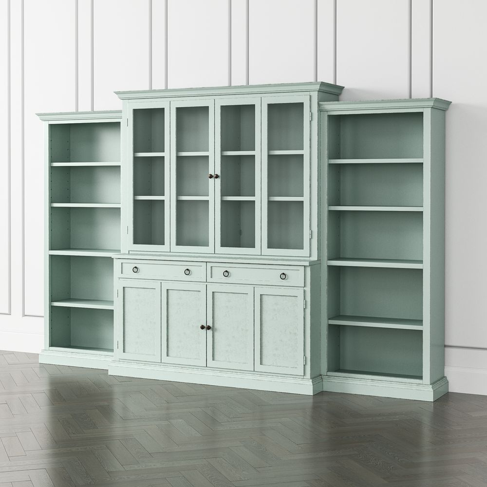 Cameo blue grey 4 piece glass and wood door wall unit with open bookcases