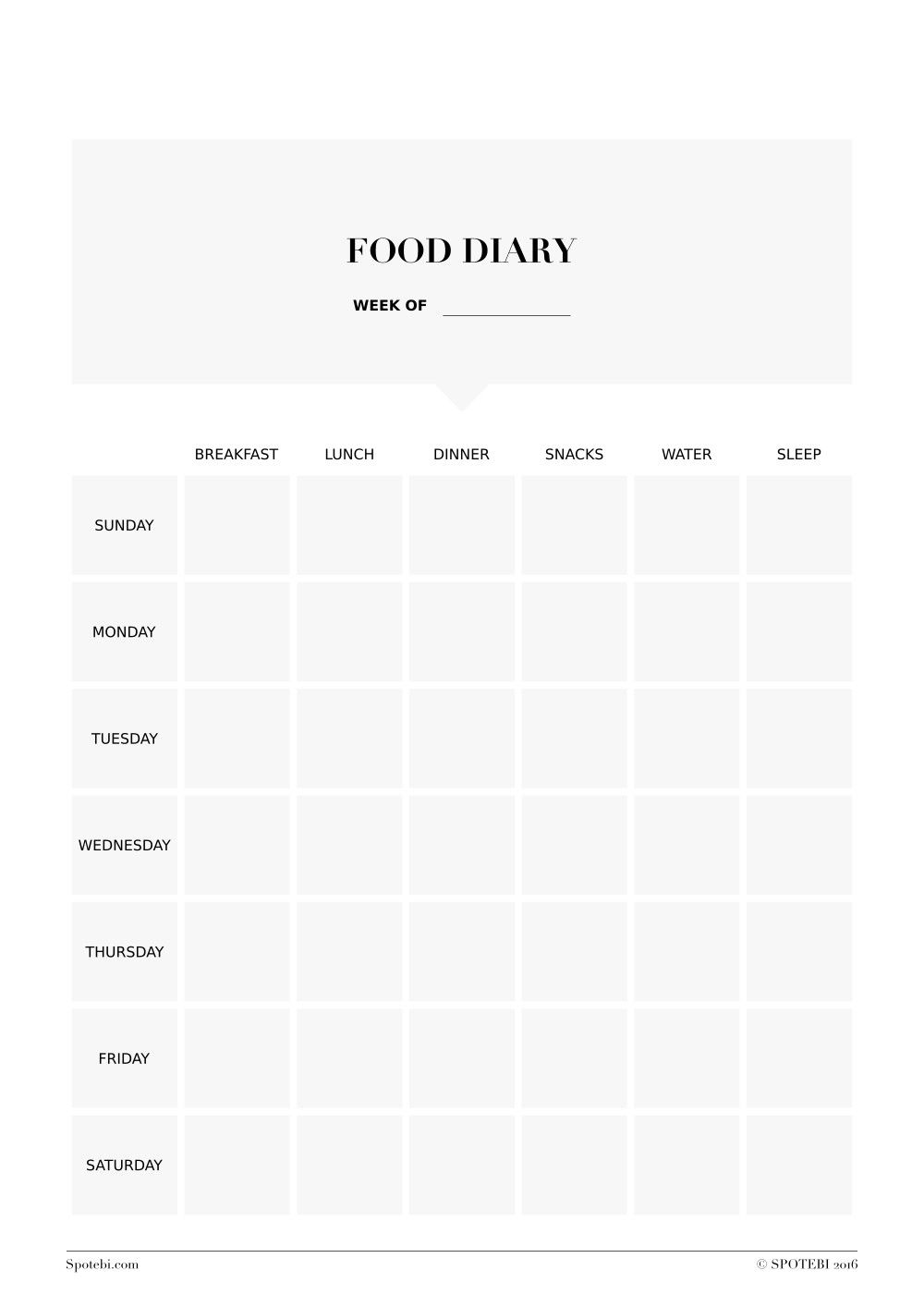 Print Our Free Food Diary Template Track Your Eating Habits Thoughts Feelings And Symptoms Make Healthy Changeove Toward Fitness Goals