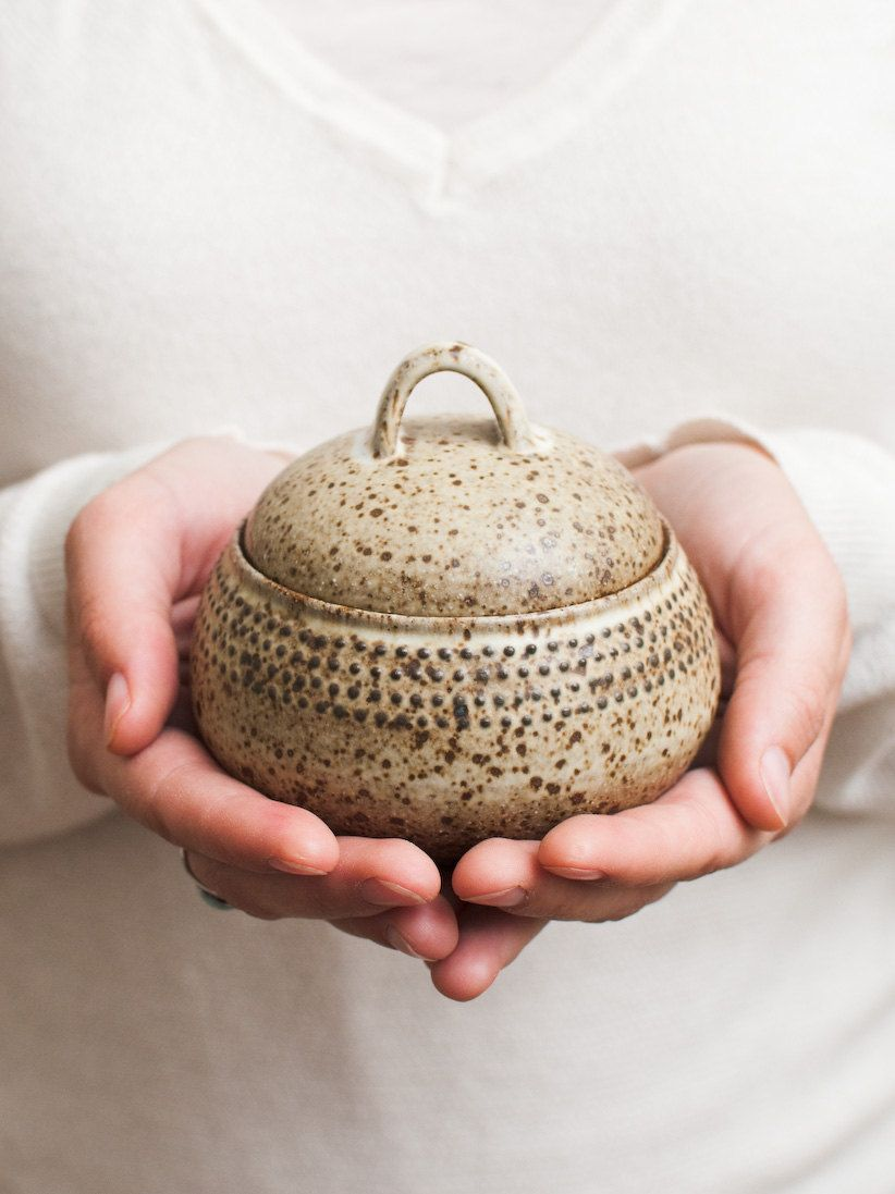 Trinket Jar Speckled Oat Stoneware Ceramic Jars Pottery Stoneware