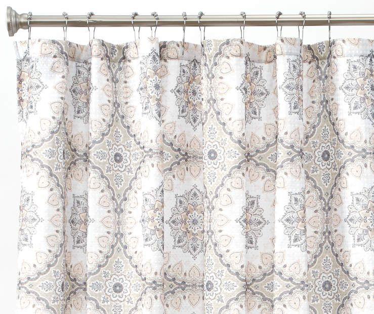 Aprima Darma Tan White Medallion Fabric Shower Curtain Fabric