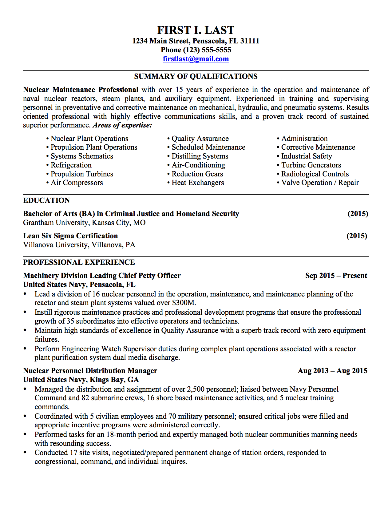 Sample Military Civilian Resumes Hirepurpose Conversion Resume For