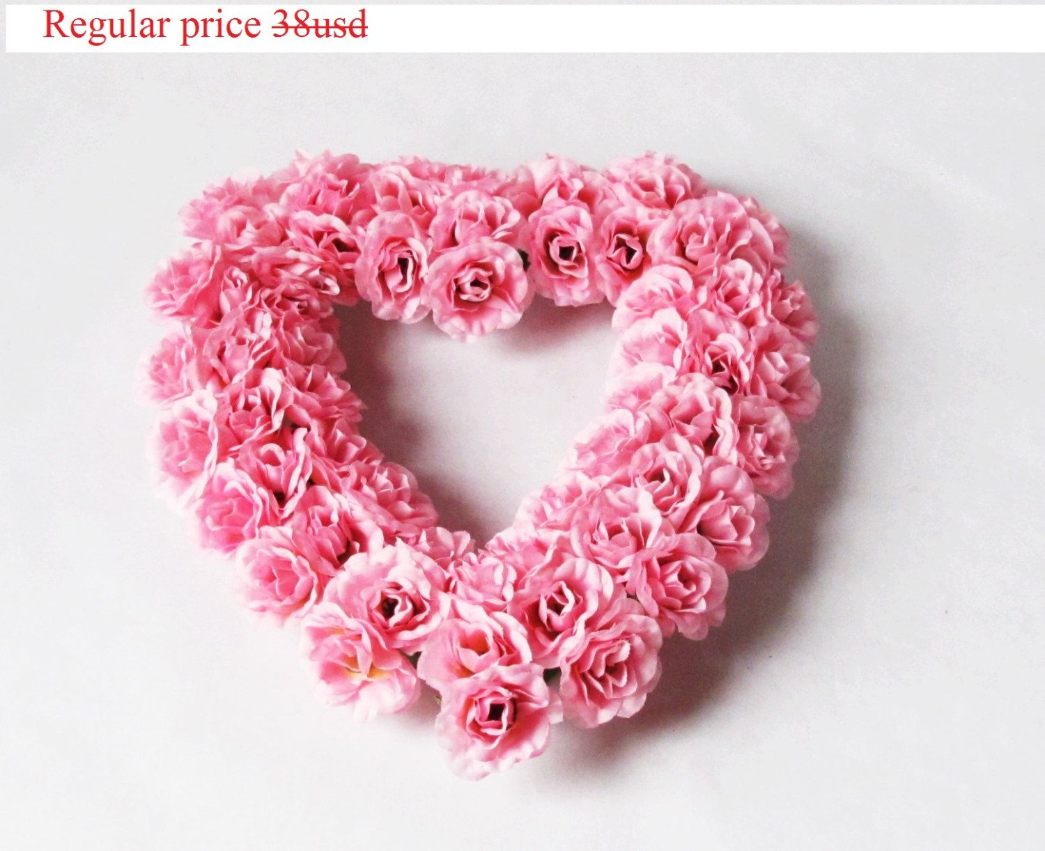 GRAND SALE Wedding Car Table Decor Pink Rose Heart Decoration Shabby ...