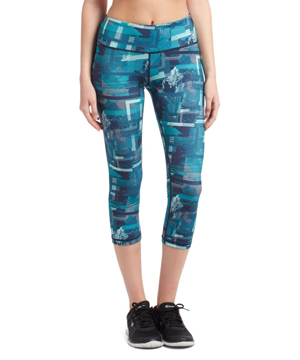 Another great find on #zulily! Blue Coral Abstract Derivative Crop Leggings by HEAD #zulilyfinds