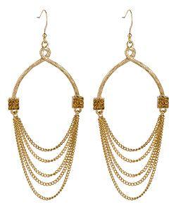 Blu Bijoux Gold Wishbone Chain Dangle Earrings #maxandchloe