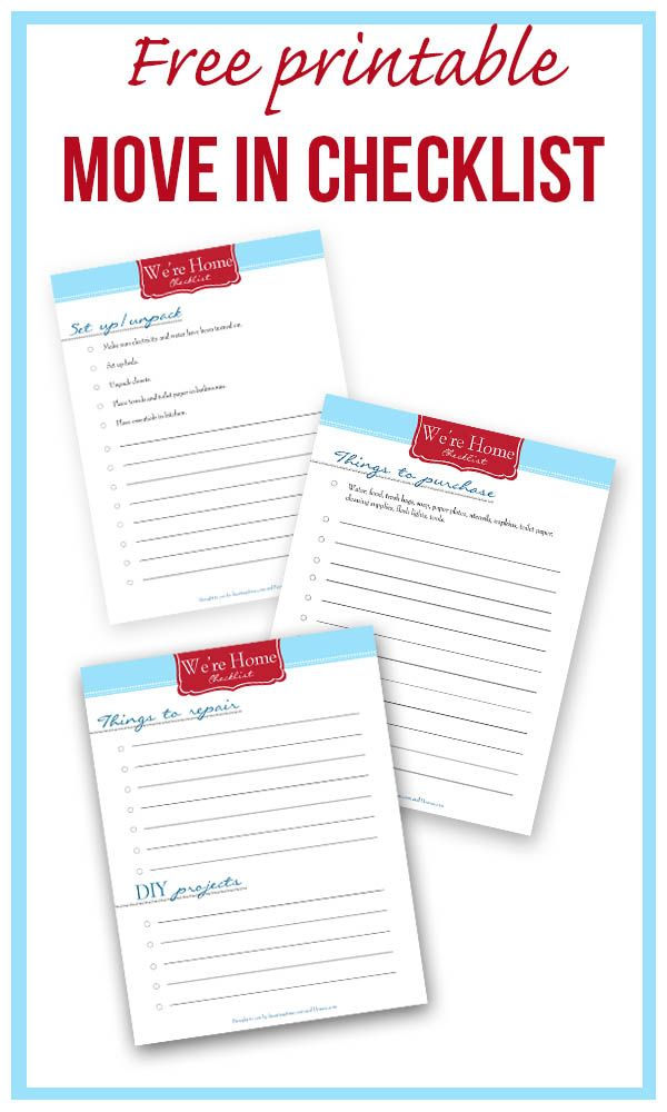 New Home Printable Checklist \u2013 {Free Download} pins i love
