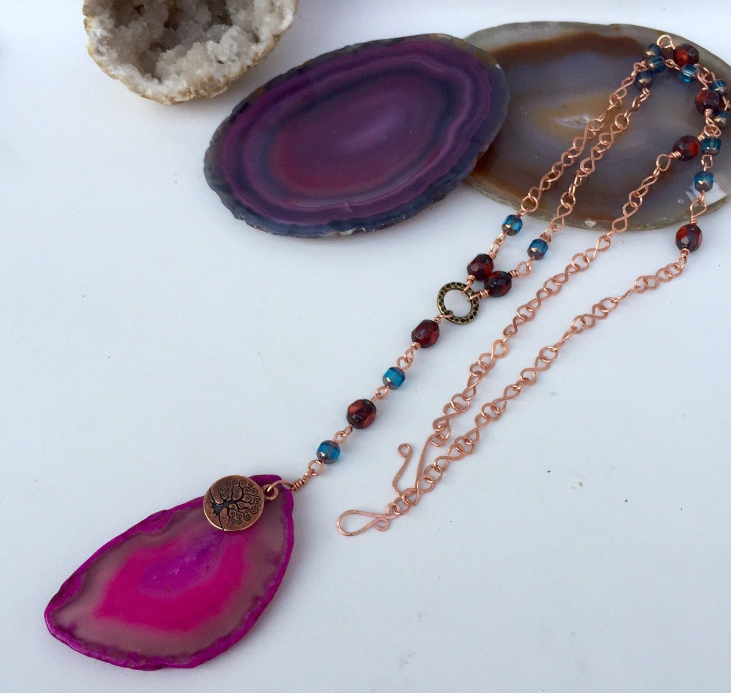 Agate and copper necklace