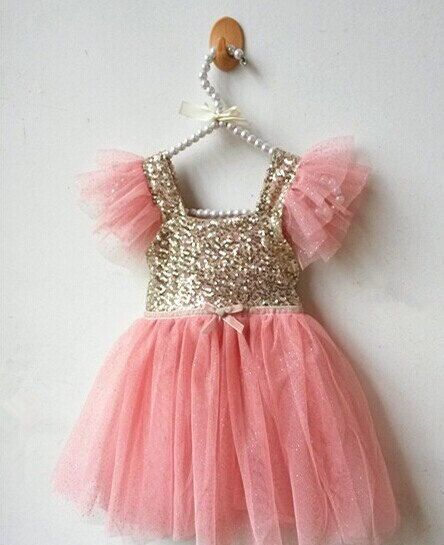 61db334f60012 pink and gold girls sequin top dress so beautiful always sparkle party  glitter party princess dress flowergirl on Etsy, $39.99