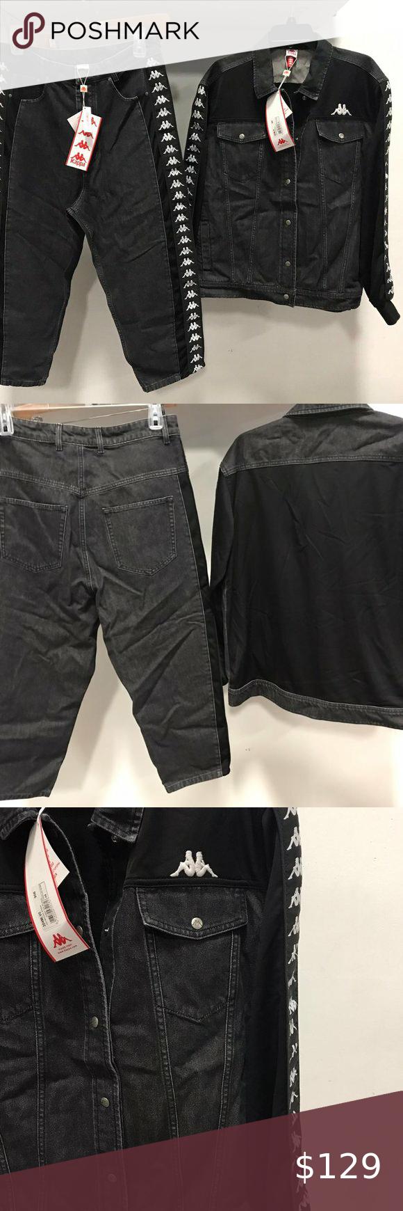 Nwt Kappa Dmg 2pc Set Denim Jean Jacket Pants L Denim Jean Jacket Pants Mens Jogging Suits [ 1740 x 580 Pixel ]