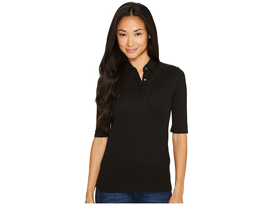 c3913d5f63 Lacoste 1/2 Sleeve Slim Fit Stretch Pique Polo (Black) Women's Clothing.