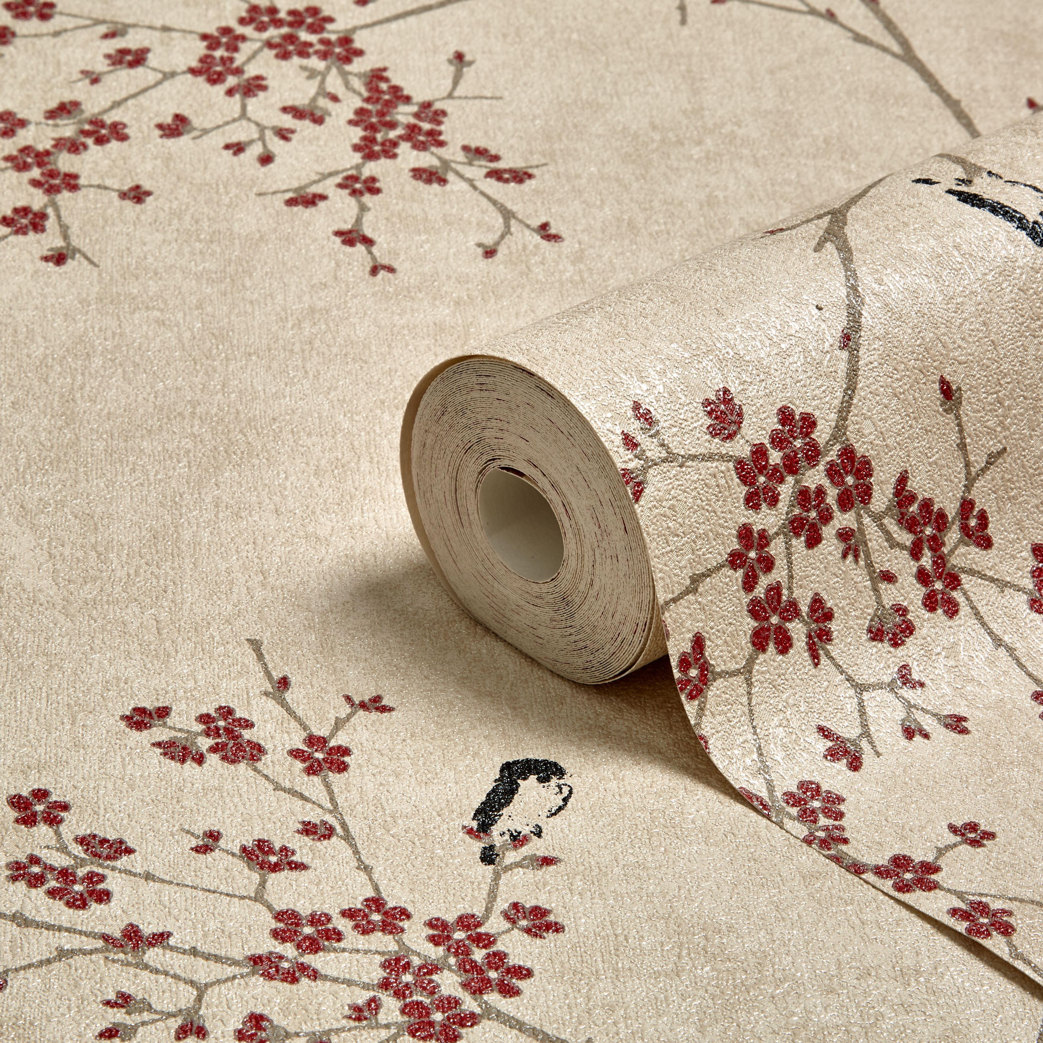 Graham Brown Beige Red Oriental Blossom Wallpaper Brown