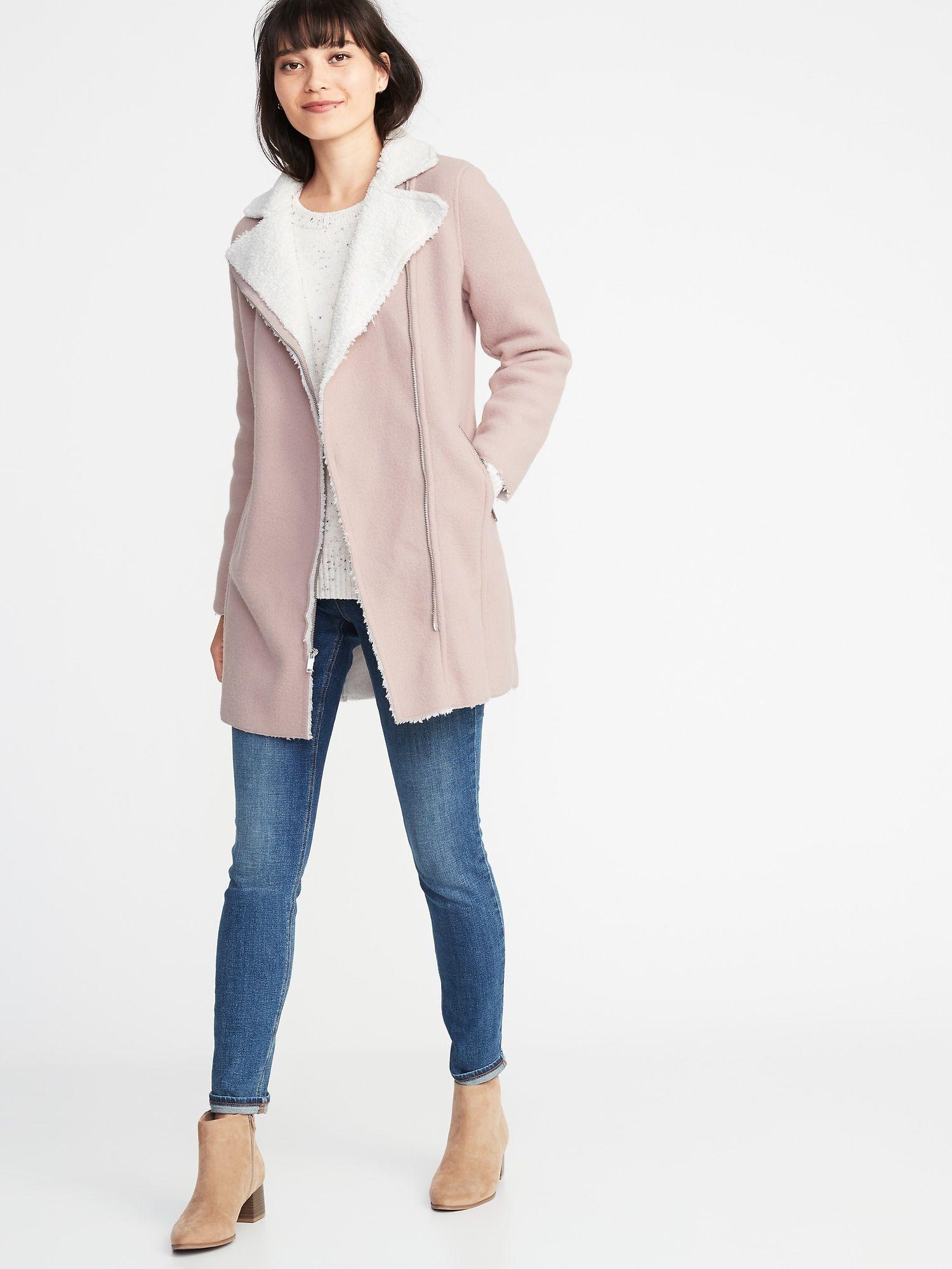 product Old navy coats, Womens sherpa, Moto coat