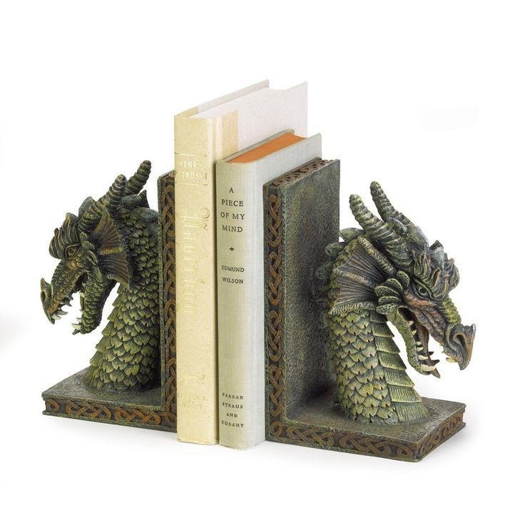 Green Dragon Head Book Ends Fantasy Medieval Library Home Decor