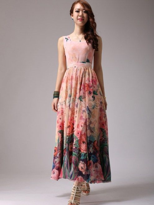 Elegant Floral Print Chiffon Scoop Neck Maxi Dress